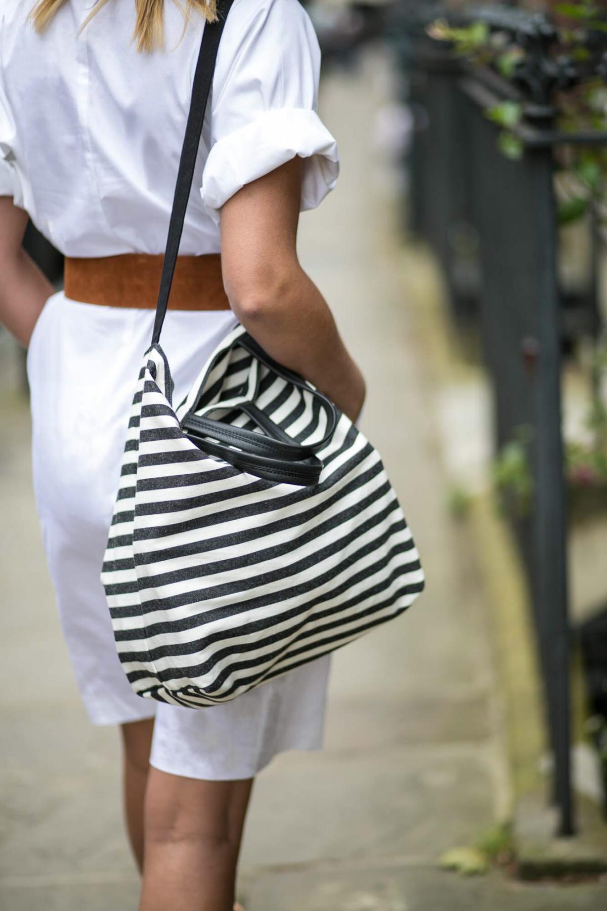 white shirt dress, 3 ways to wear, stripe canvas bag, tan suede waist belt
