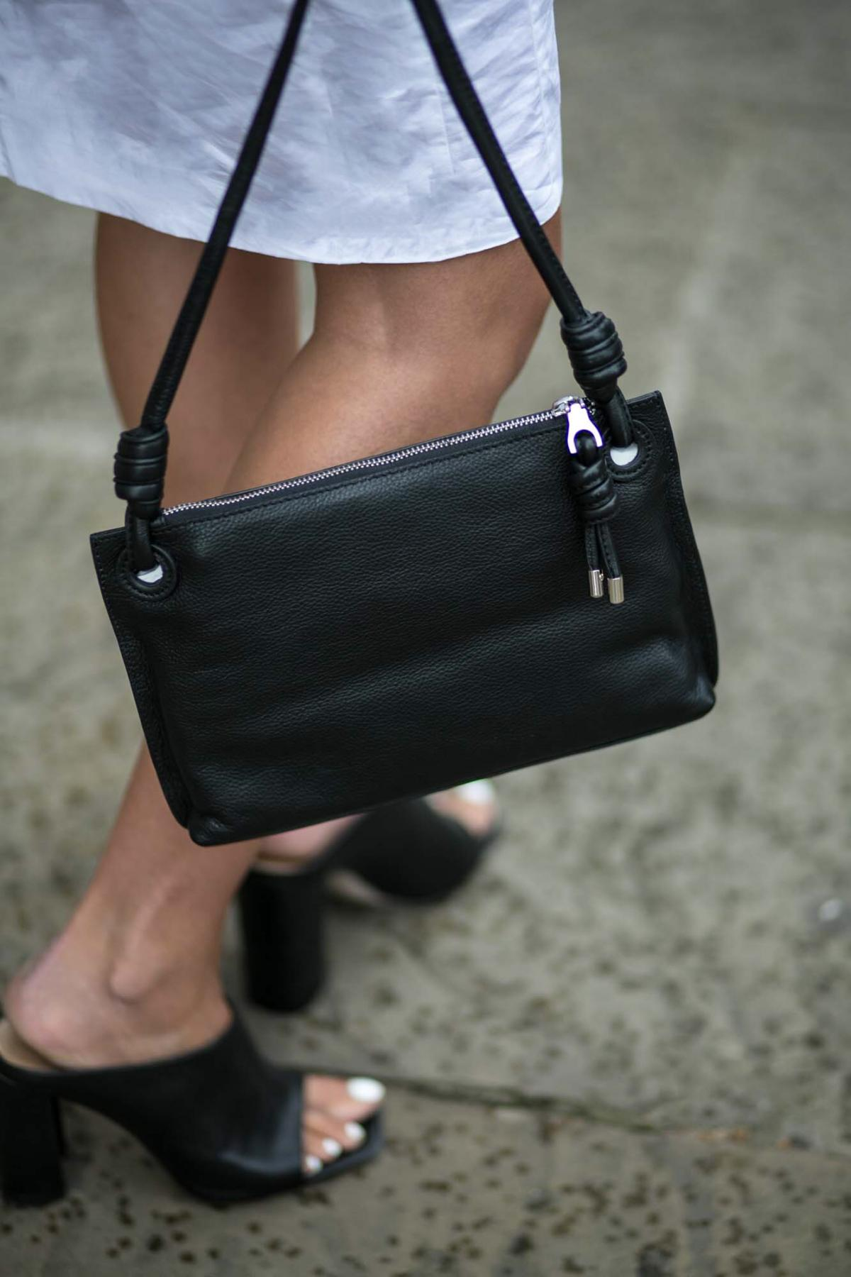 black cross body bag with knot detail