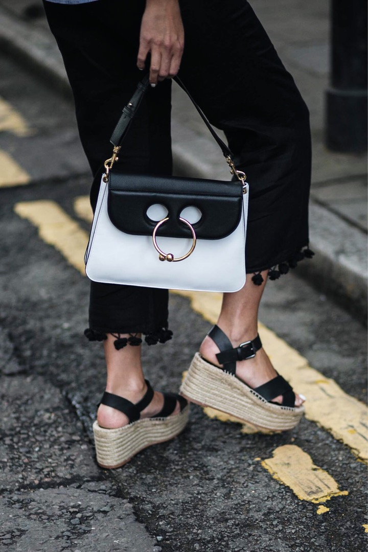 Zara pom pom hem black cropped trousers, wedge espadrilles, street style, JW Anderson black white Piercing Pierce bag