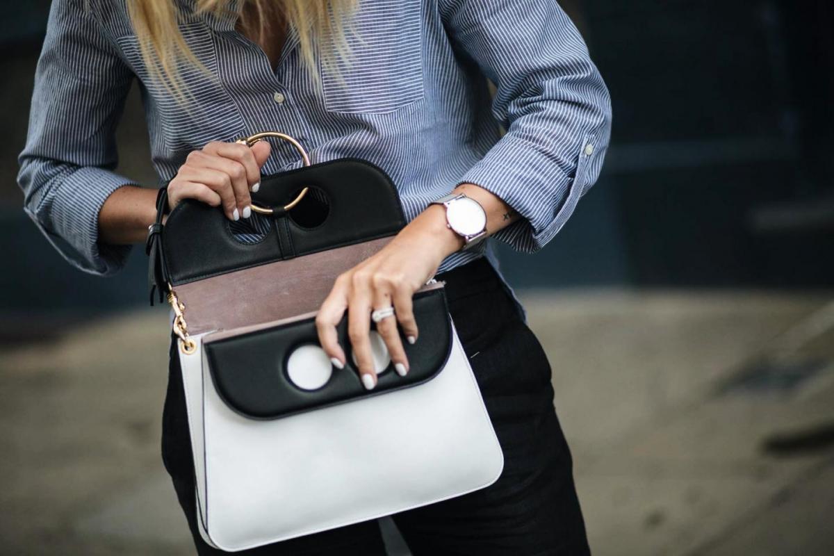 JW Anderson Pierce bag in monochrome, blue pinstripe shirt, black trousers, larson & jennings silver watch