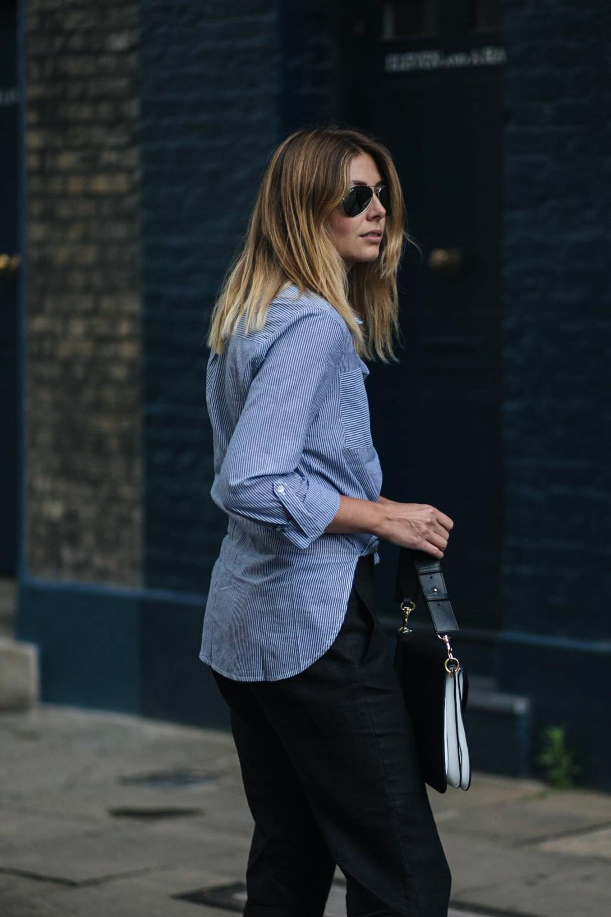 blue pinstripe shirt, black trousers, street style, aviator sunglasses, JW Anderson Piercing bag