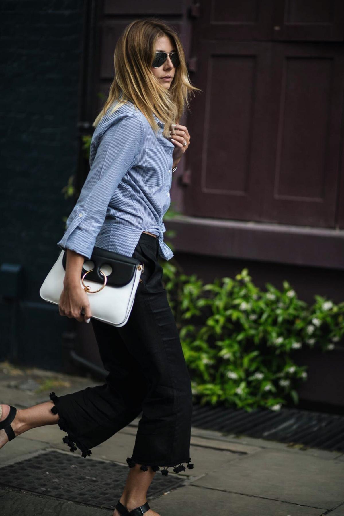 Blue pinstripe shirt, JW Anderson Pierce bag in monochrome, black trousers, street style