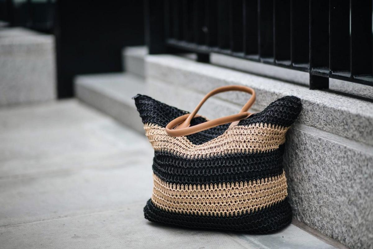 stripe summer straw woven shopper bag