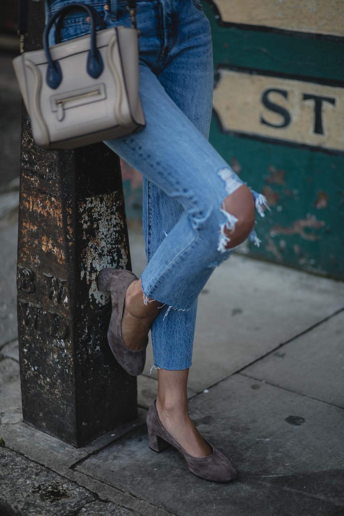 ripped Levis 501 CT jeans with busted knees, Celine nano bag, suede glove shoes with block mid heel, chic summer outfit