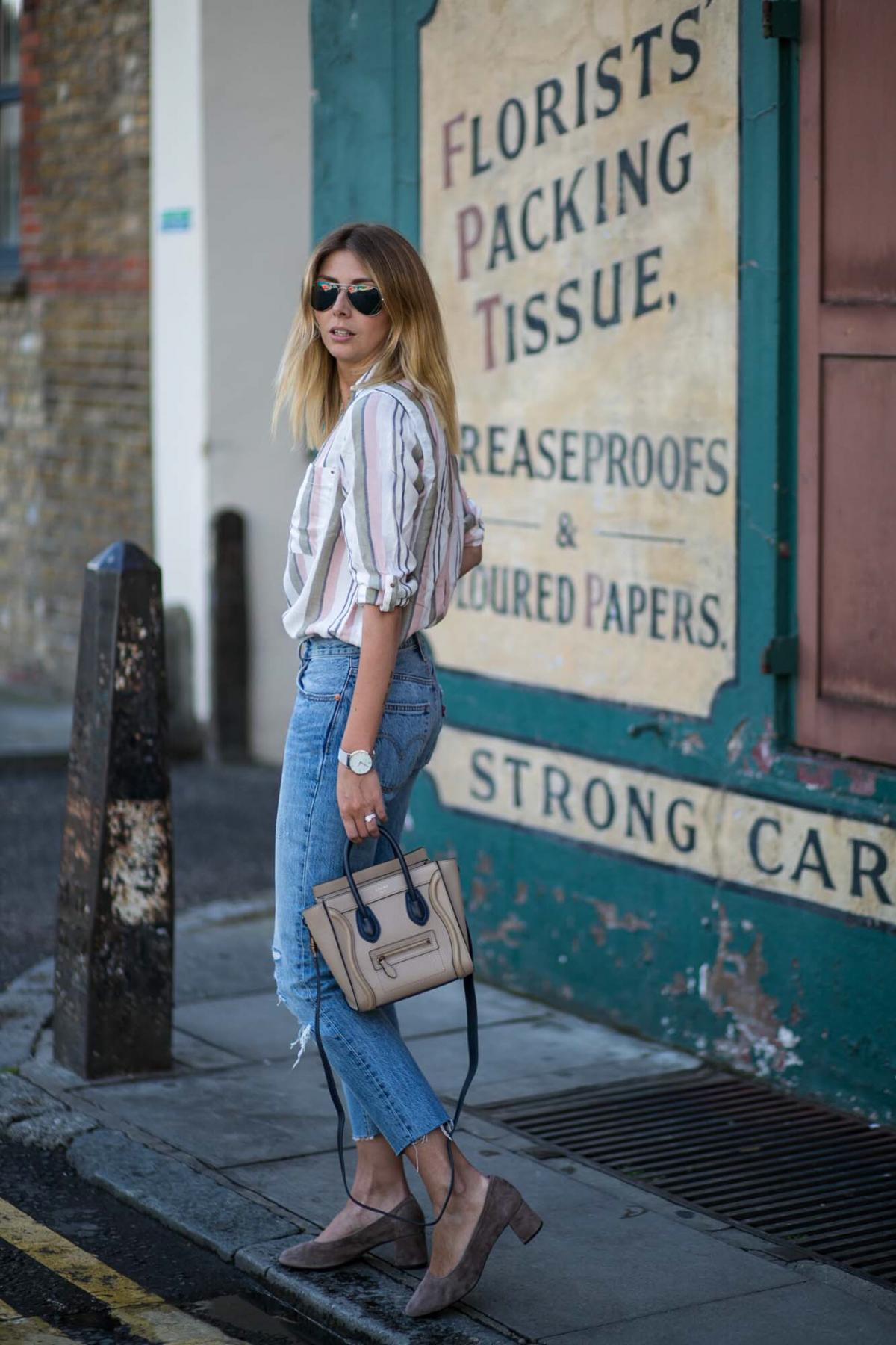 pastel stripe shirt, Levis 501 CT jeans, Celine nano bag, suede glove shoes with block mid heel, chic summer outfit