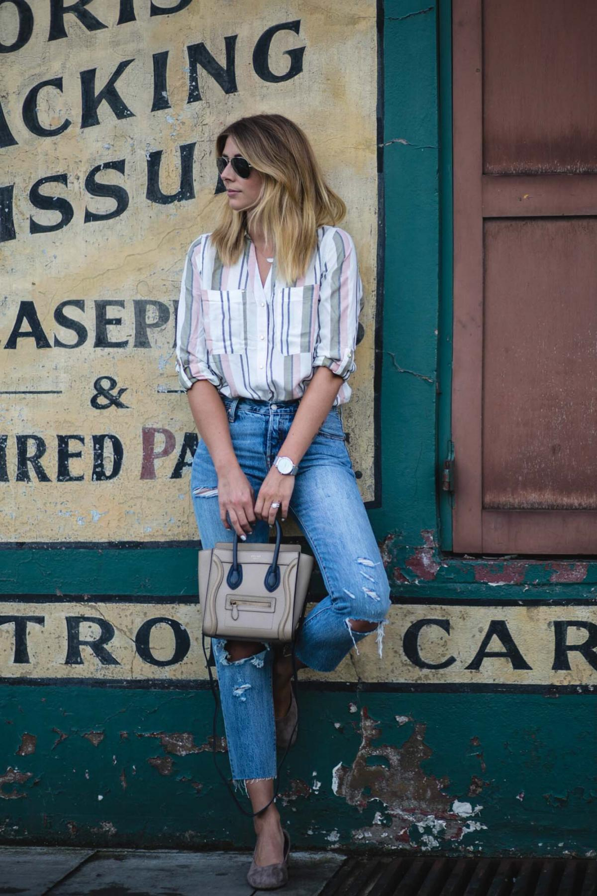 pastel stripe shirt, Levis 501 CT jeans, Celine nano bag, suede glove shoes with block mid heel, chic summer outfit, casual, style, EJSTYLE