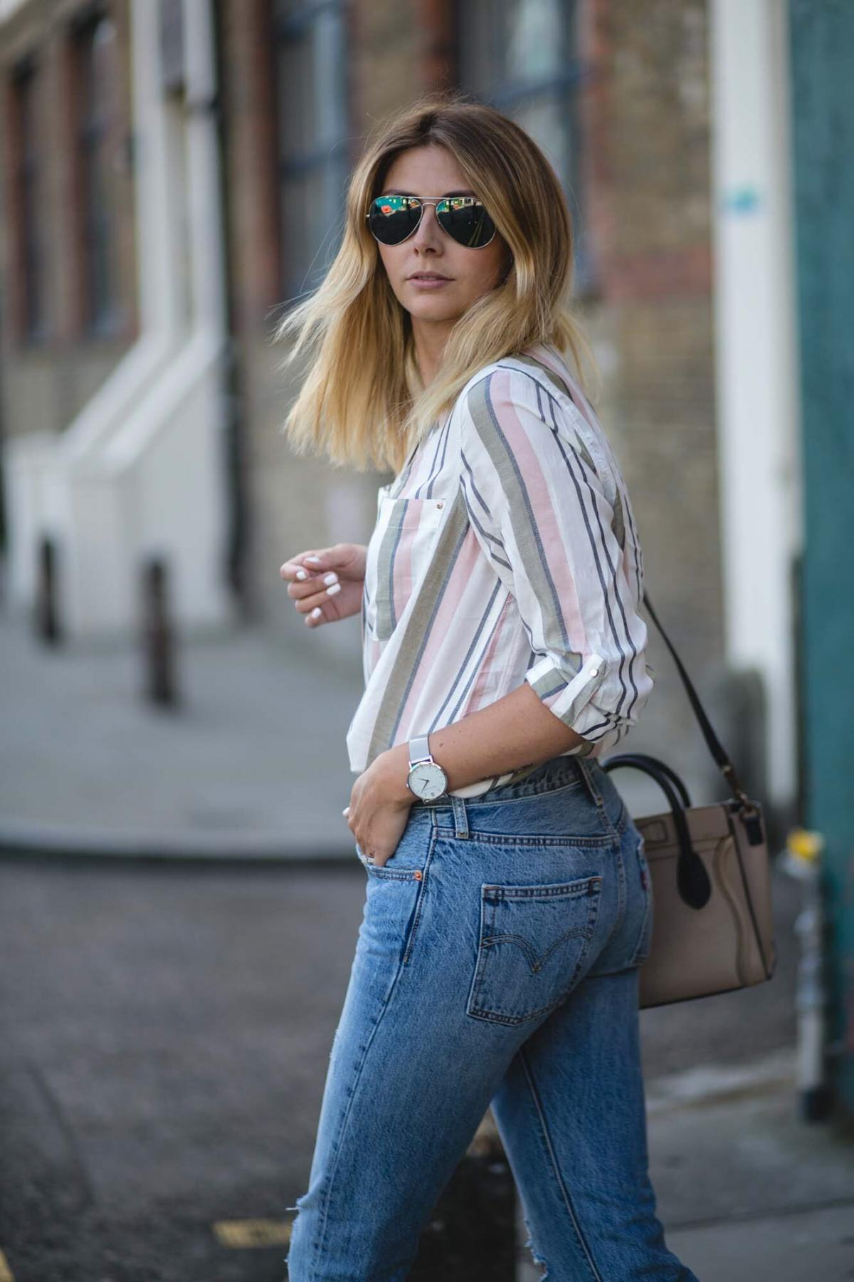 pastel stripe shirt, celine nano bag, levis 501 jeans