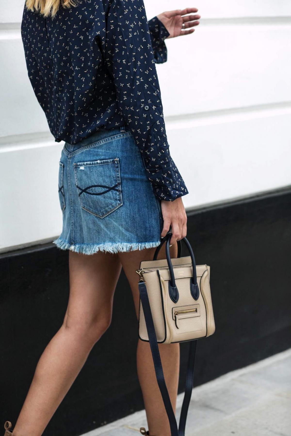 frayed denim mini skirt, celine nano bag, blue printed shirt