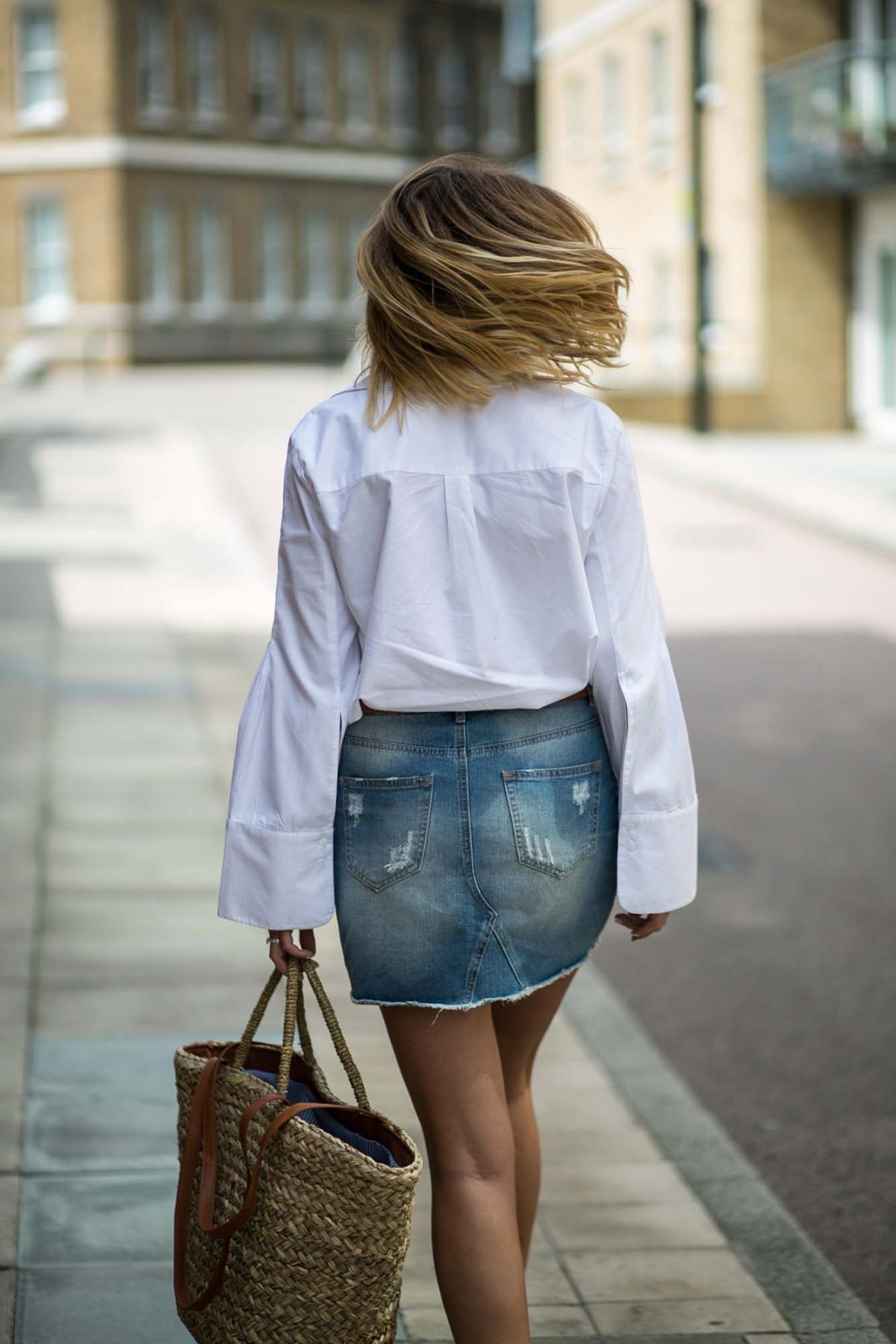 white shirt, denim skirt-10