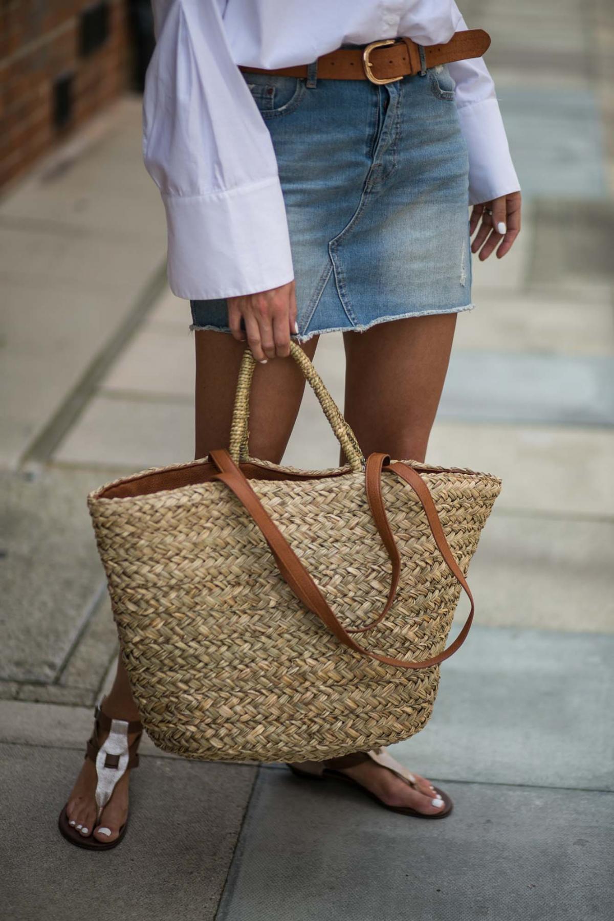 white shirt, denim skirt-3