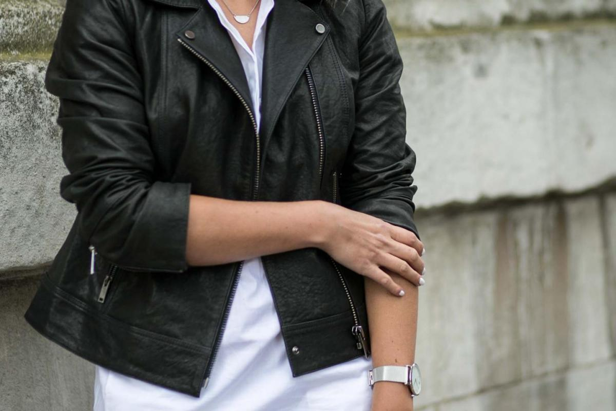 white shirt dress, leather jacket, roll up sleeves