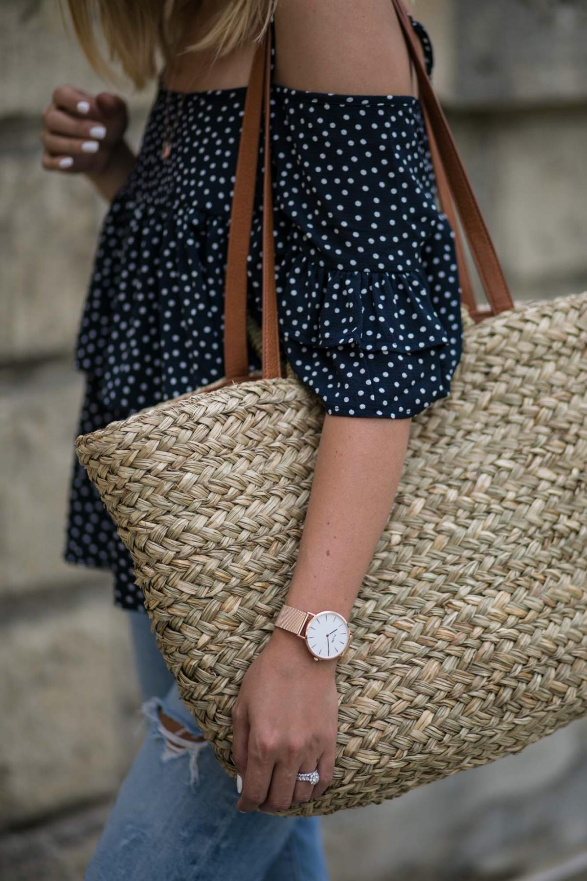 rose gold watch, straw woven wicker beach bag, navy polka dot top, cold shoulder top, summer outfit