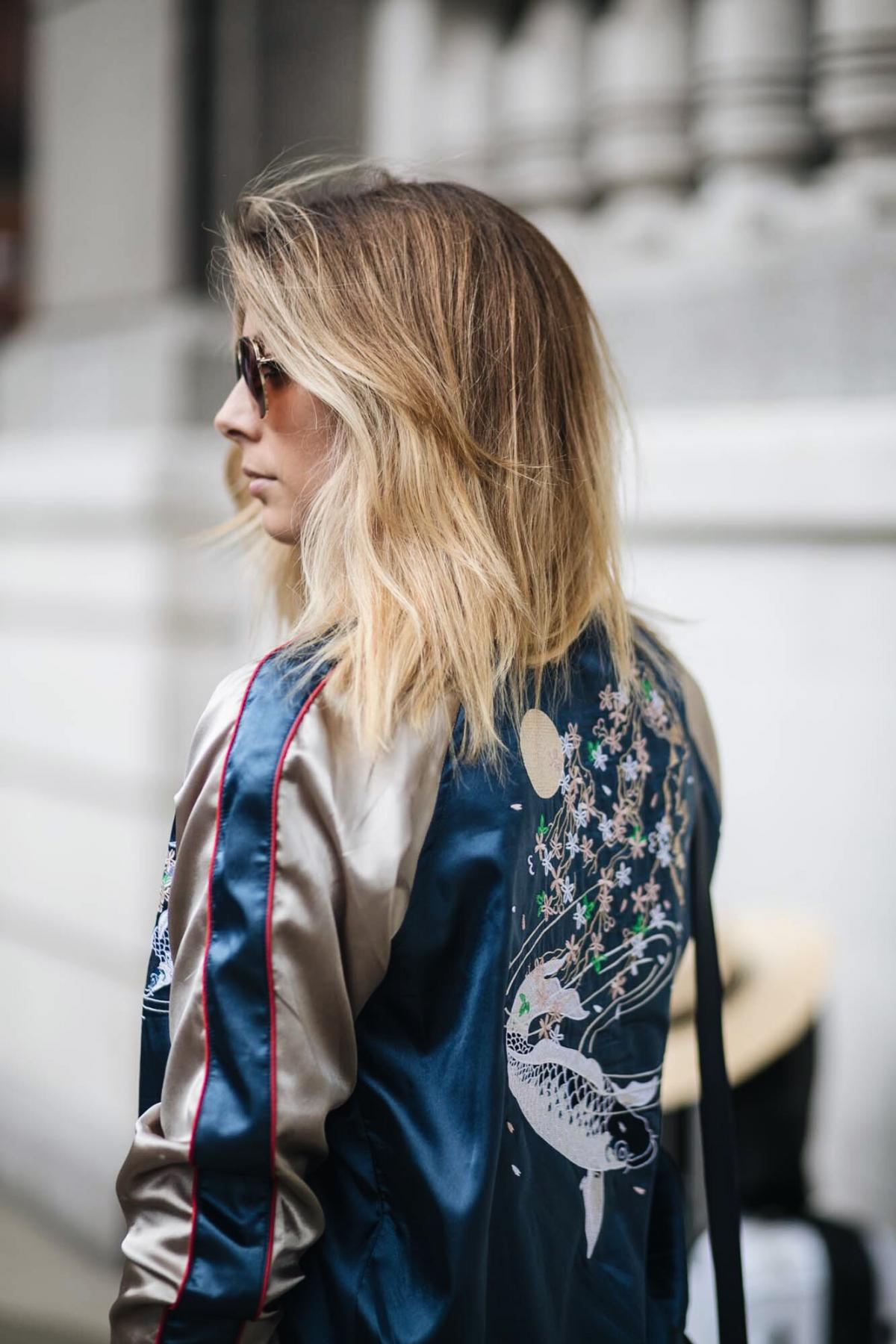 how to wear a satin bomber jacket, street style, embroidered jacket