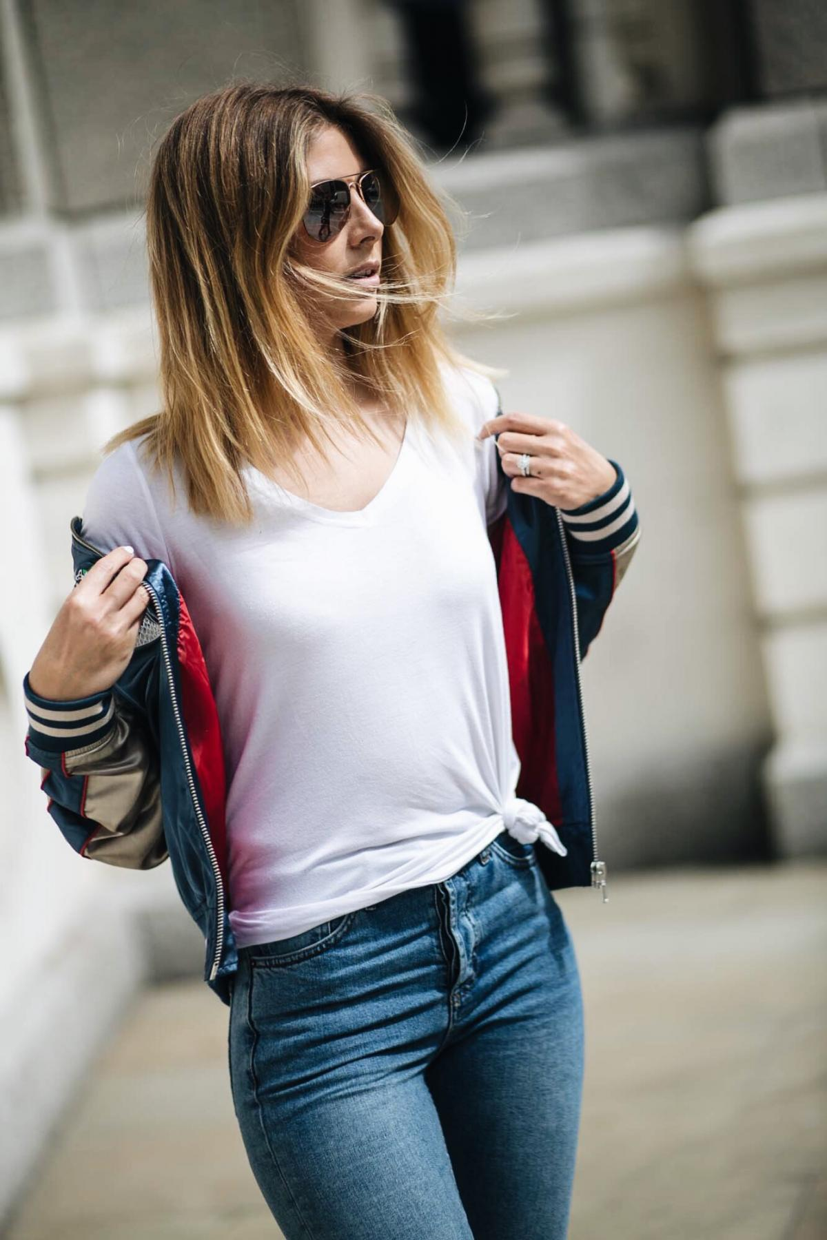 how to wear a satin bomber jacket, street style