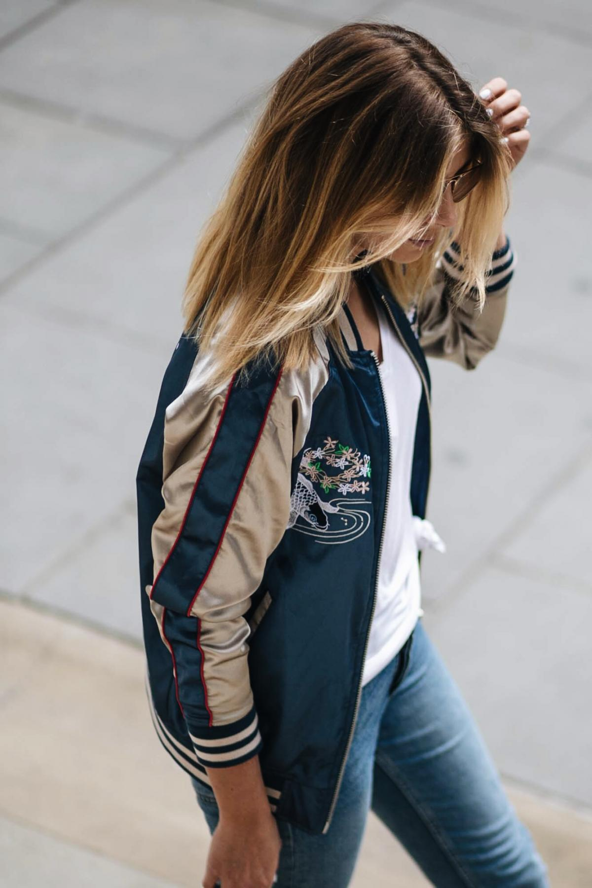 embroidered satin bomber jacket, street style, white basic v neck t shirt, knot t shirt