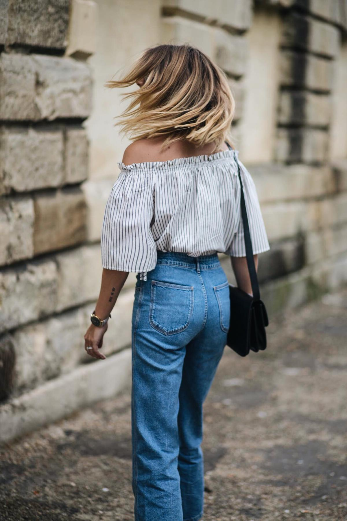 stripe off shoulder top high waisted wide leg jeans, cause watch, celine box bag