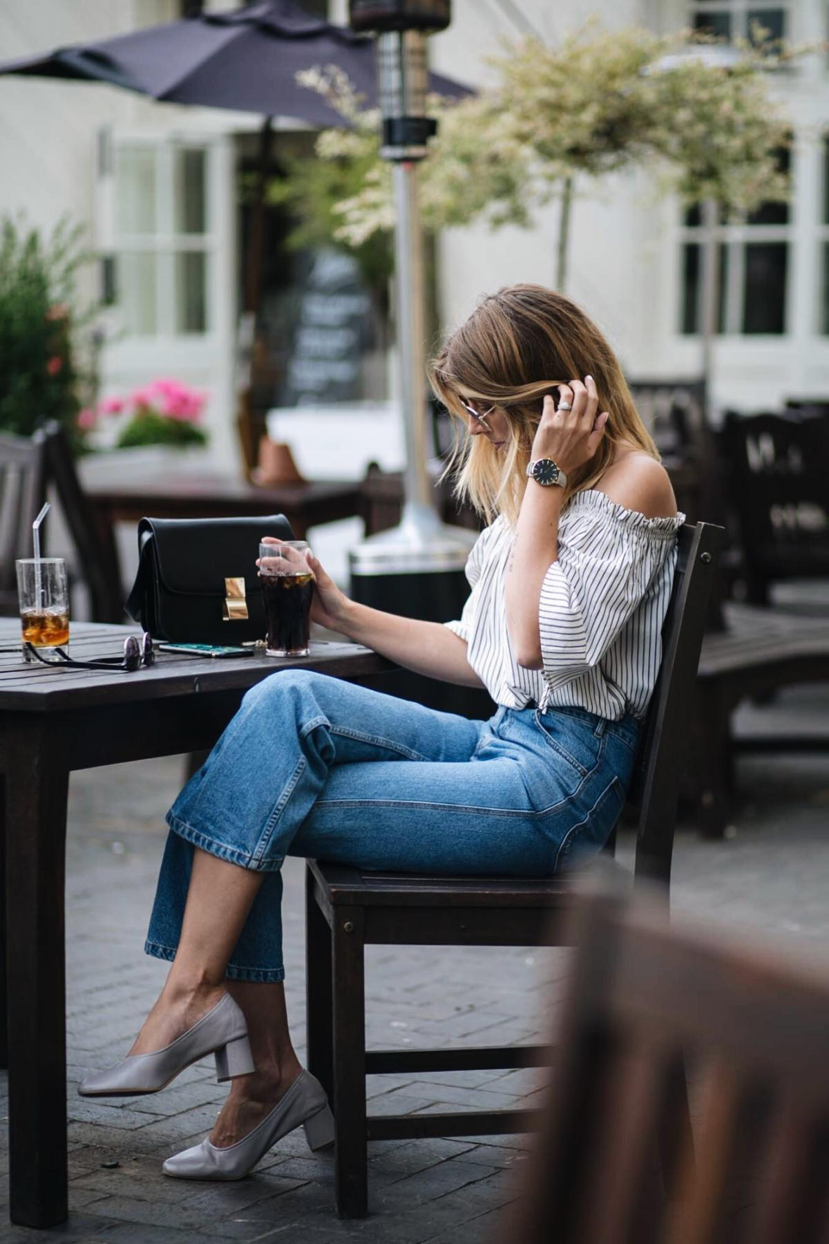 summer outfit, stripe off the shoulder top, cropped jeans, grey glove shoes, celine box bag