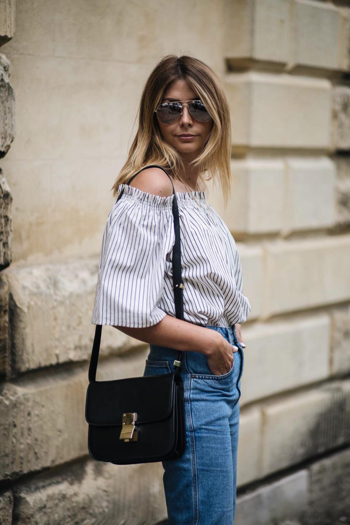 stripe off the shoulder top, celine box bag, summer outfit
