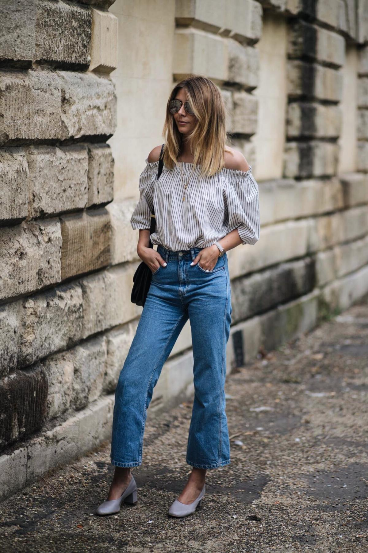 stripe off shoulder top, high waisted wide leg cropped jeans, celine box bag, cluse watch, street style, chic summer outfit