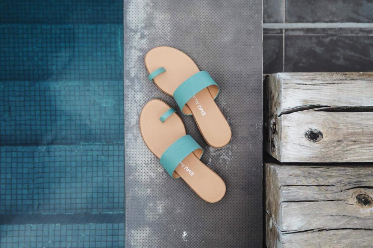 turquoise leather sandals