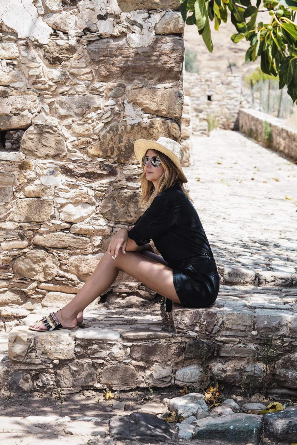 Black utility playsuit, straw hat, casual summer outfit, vacations style, travel blogger
