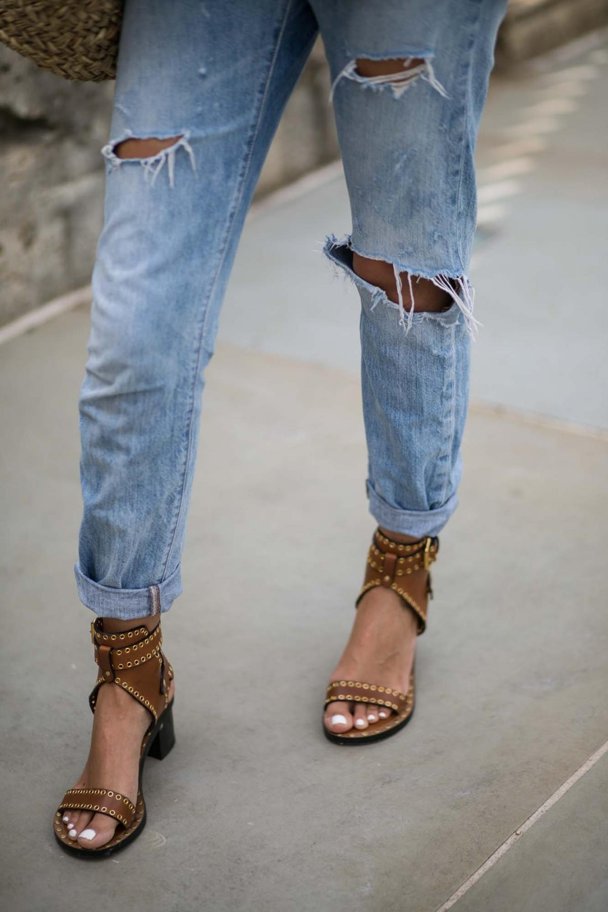 Isabel Marant tan studded sandals, white nails, white pedicure, summer toes, cuffed levis boyfriend jeans