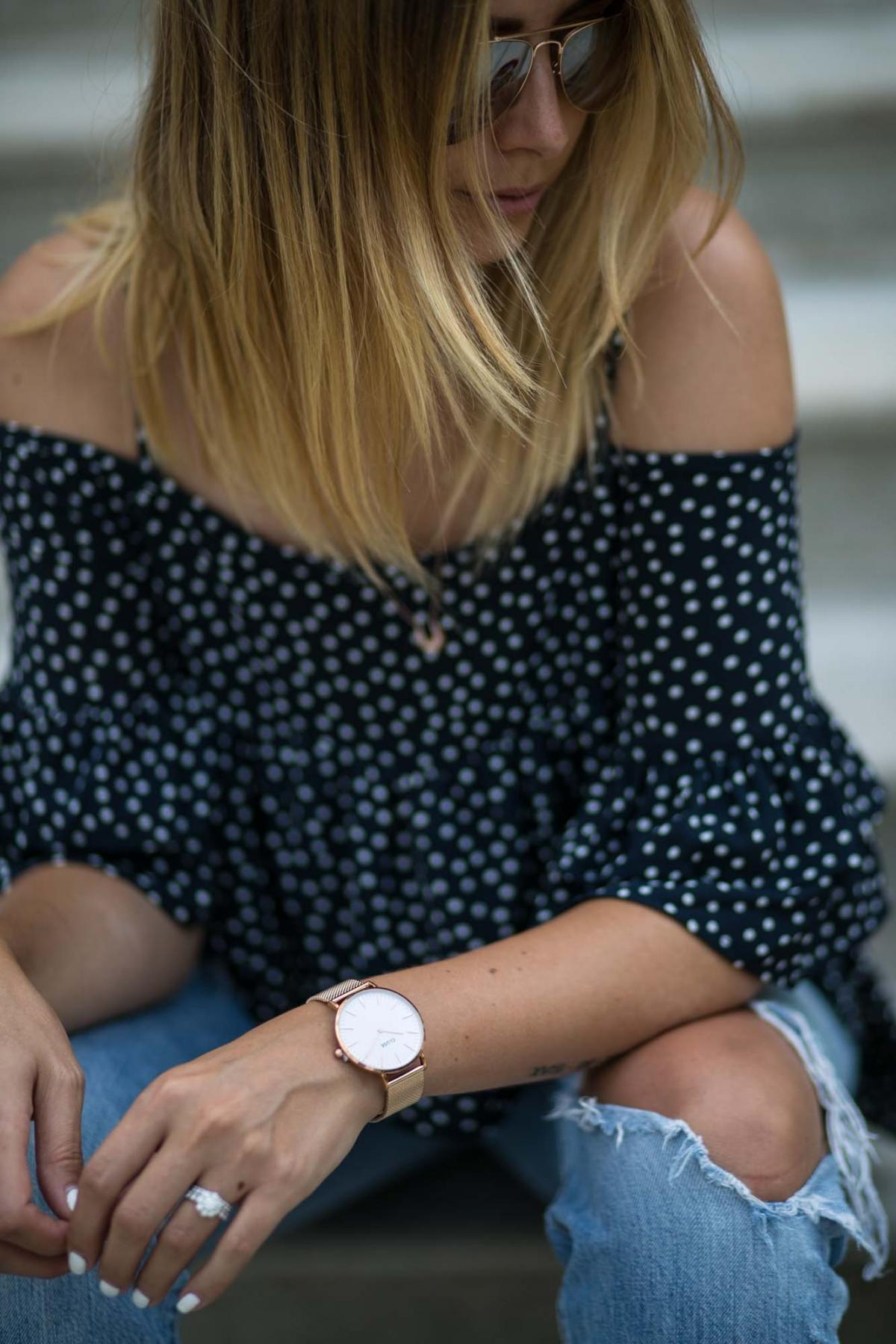 rose gold cause watch, navy polka dot cold shoulder top, summer style