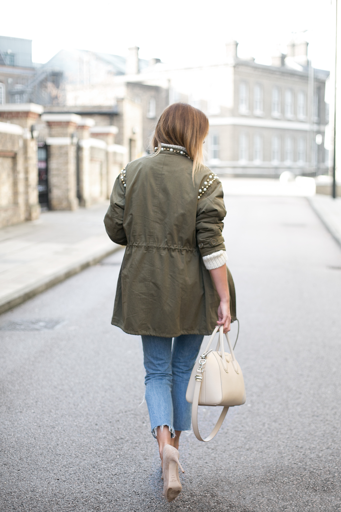 khaki embellished jacket, ripped Levis 501 jeans, cream Givenchy antigona bag small, beige suede Jimmy Choo Roma pumps, chic winter outfit
