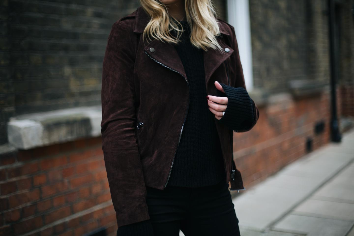 brown suede jacket, black sweater, winter layers