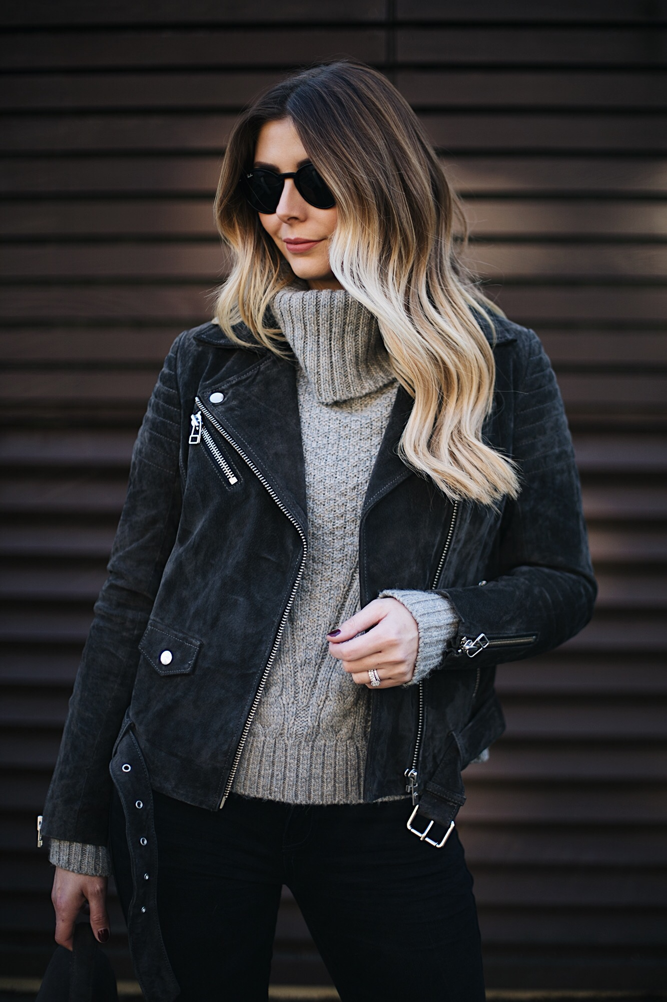 grey suede jacket, grey roll neck sweater