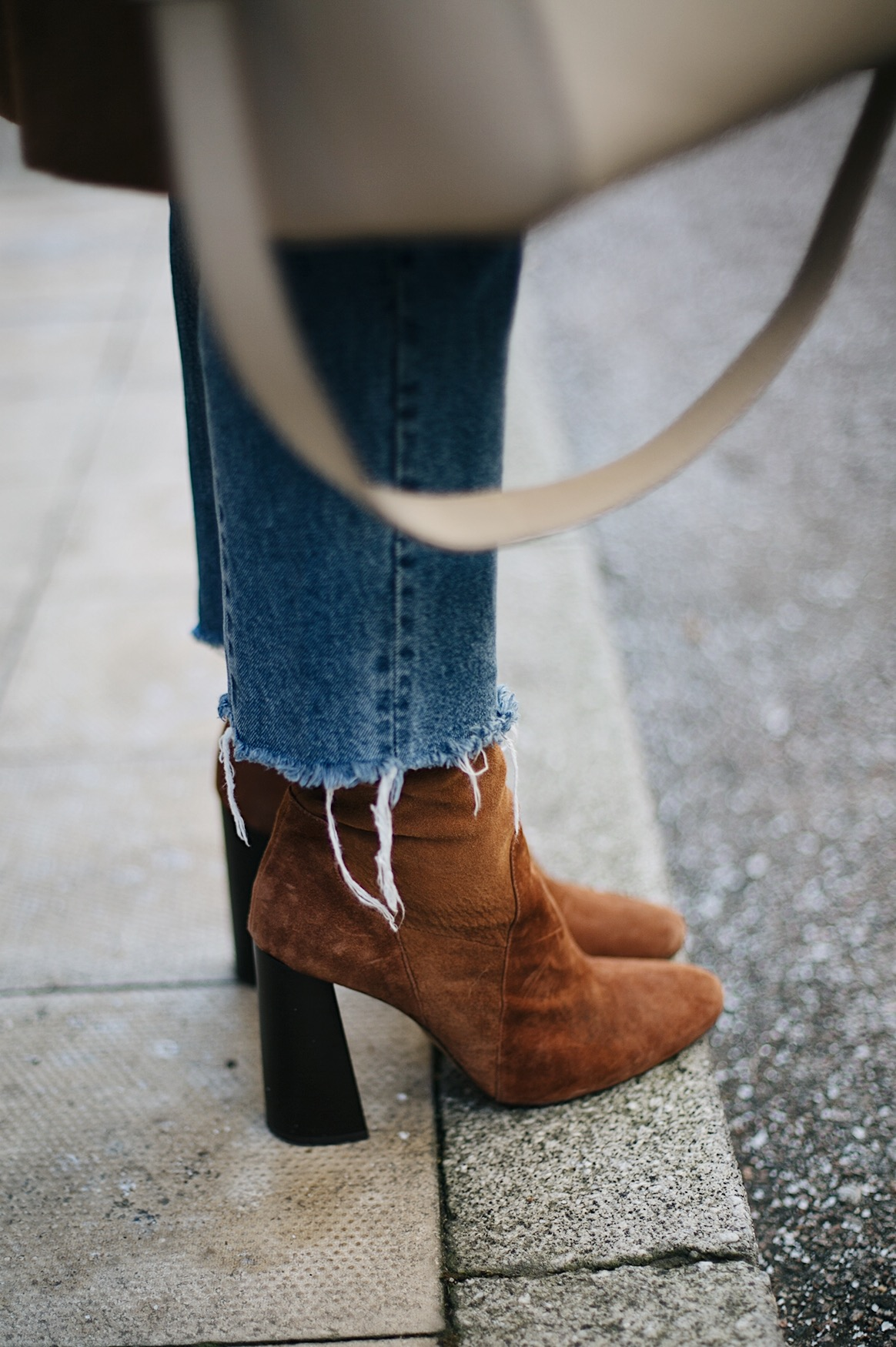 frayed hem jeans, tan suede sock boots
