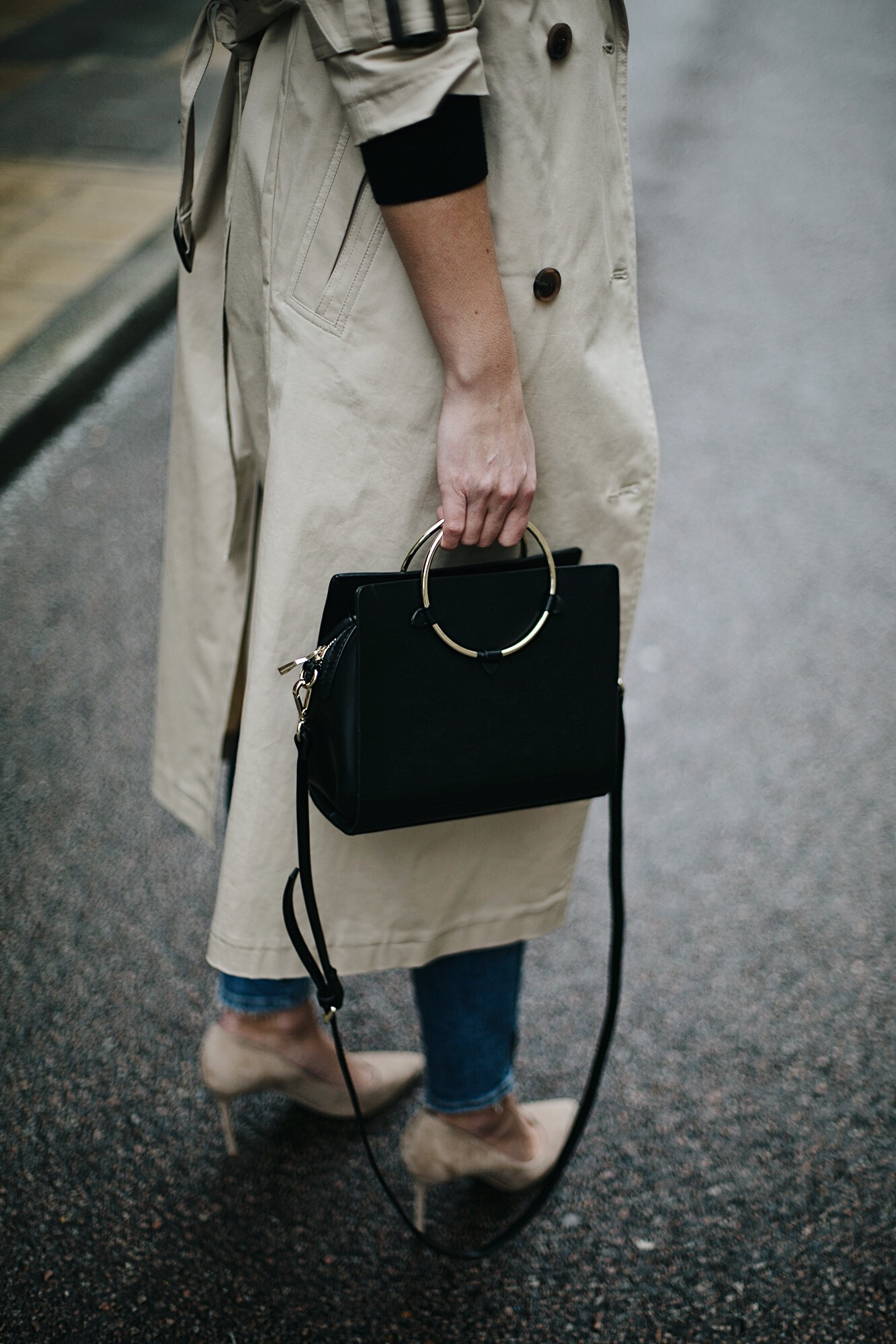 trench coat, ring handle bag