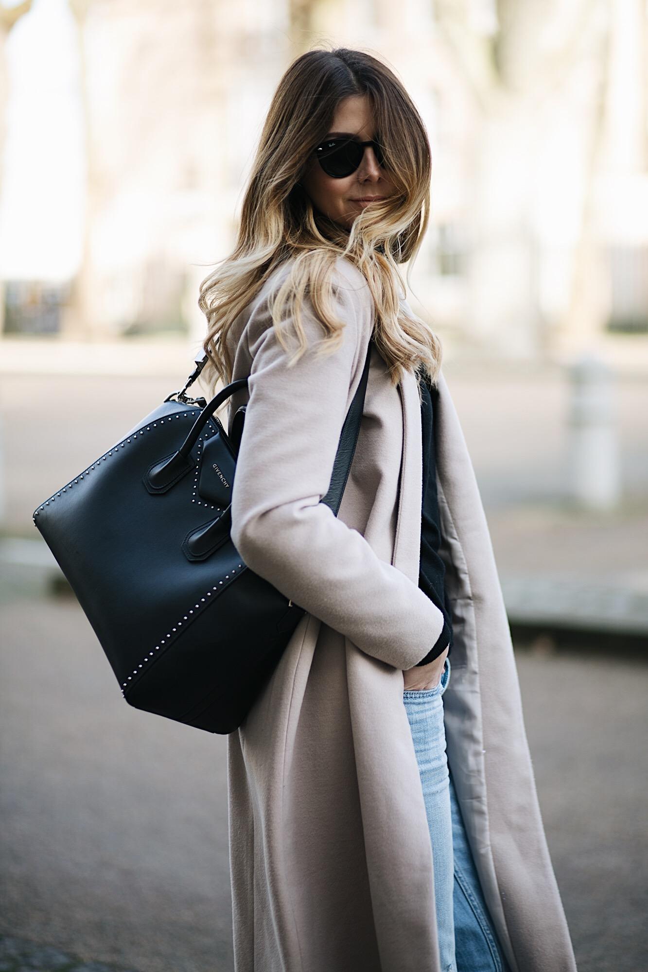 nude coat, studded medium Givenchy Antigona bag, bleach wash boyfriend jeans, winter style, winter outfit ideas