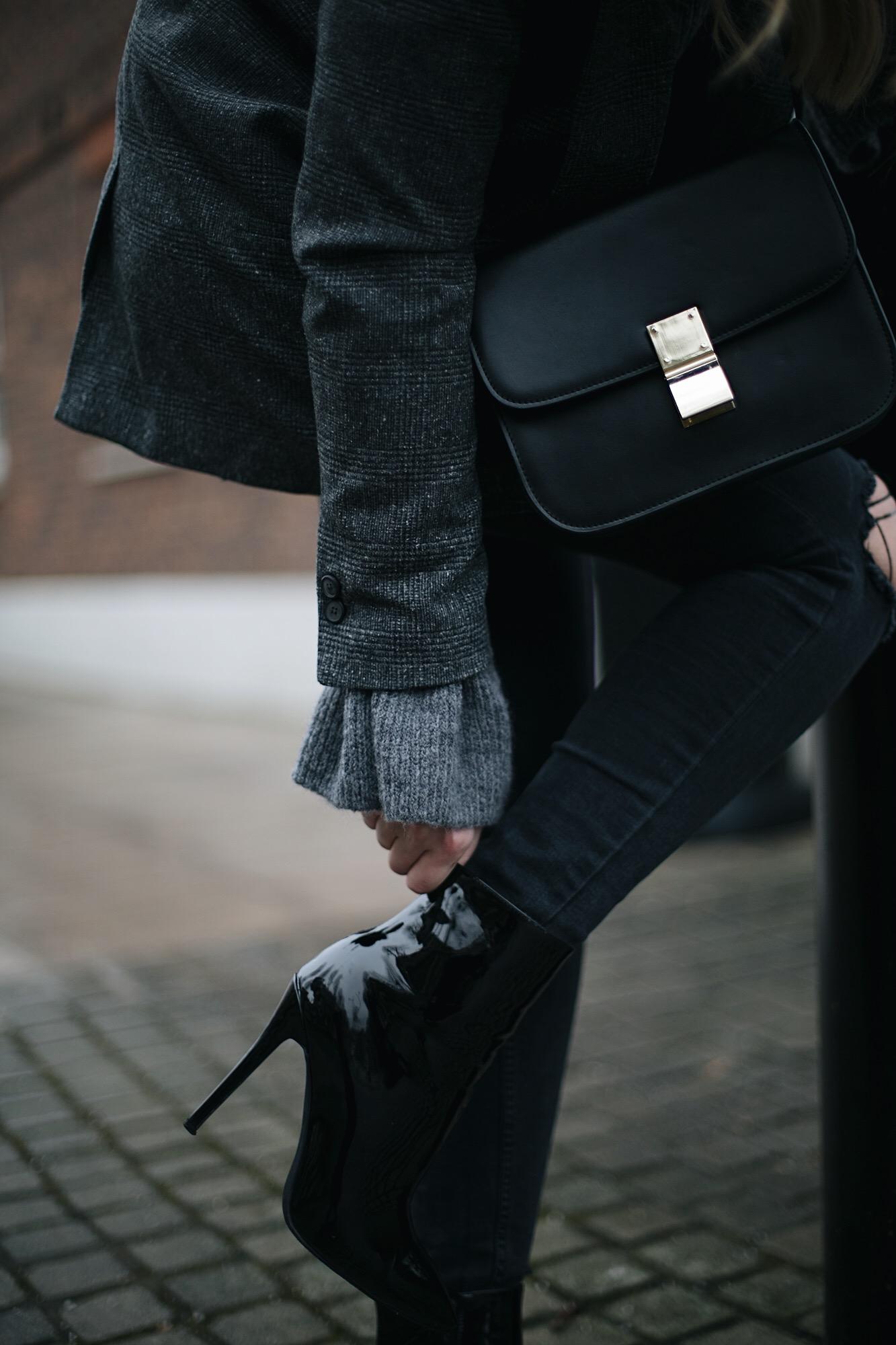 Black vinyl pjs patent heels ankle boots