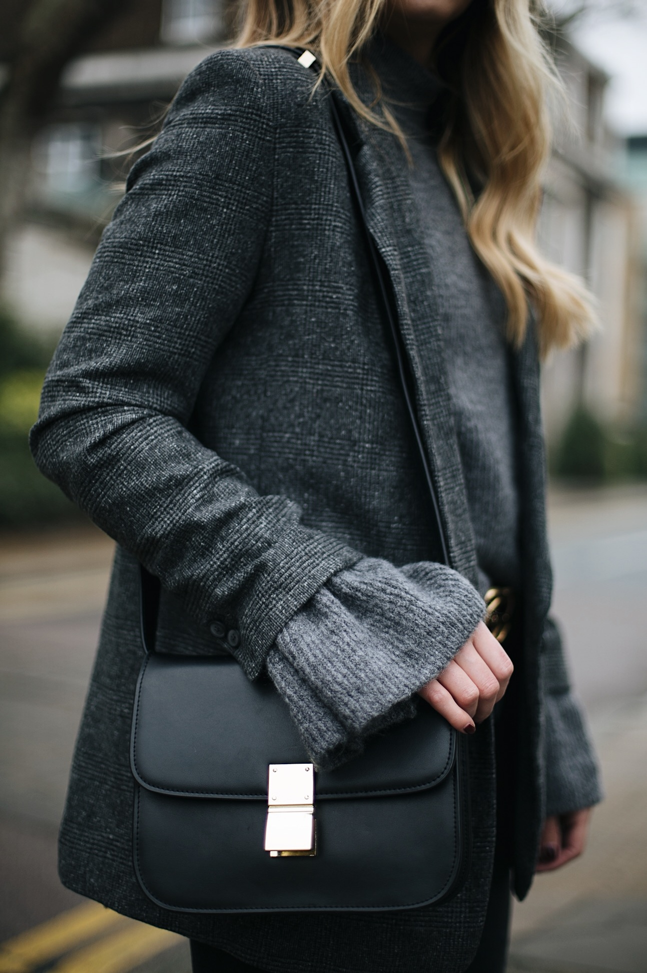 grey bell sleeve jumper, Celine box bag, grey check blazer