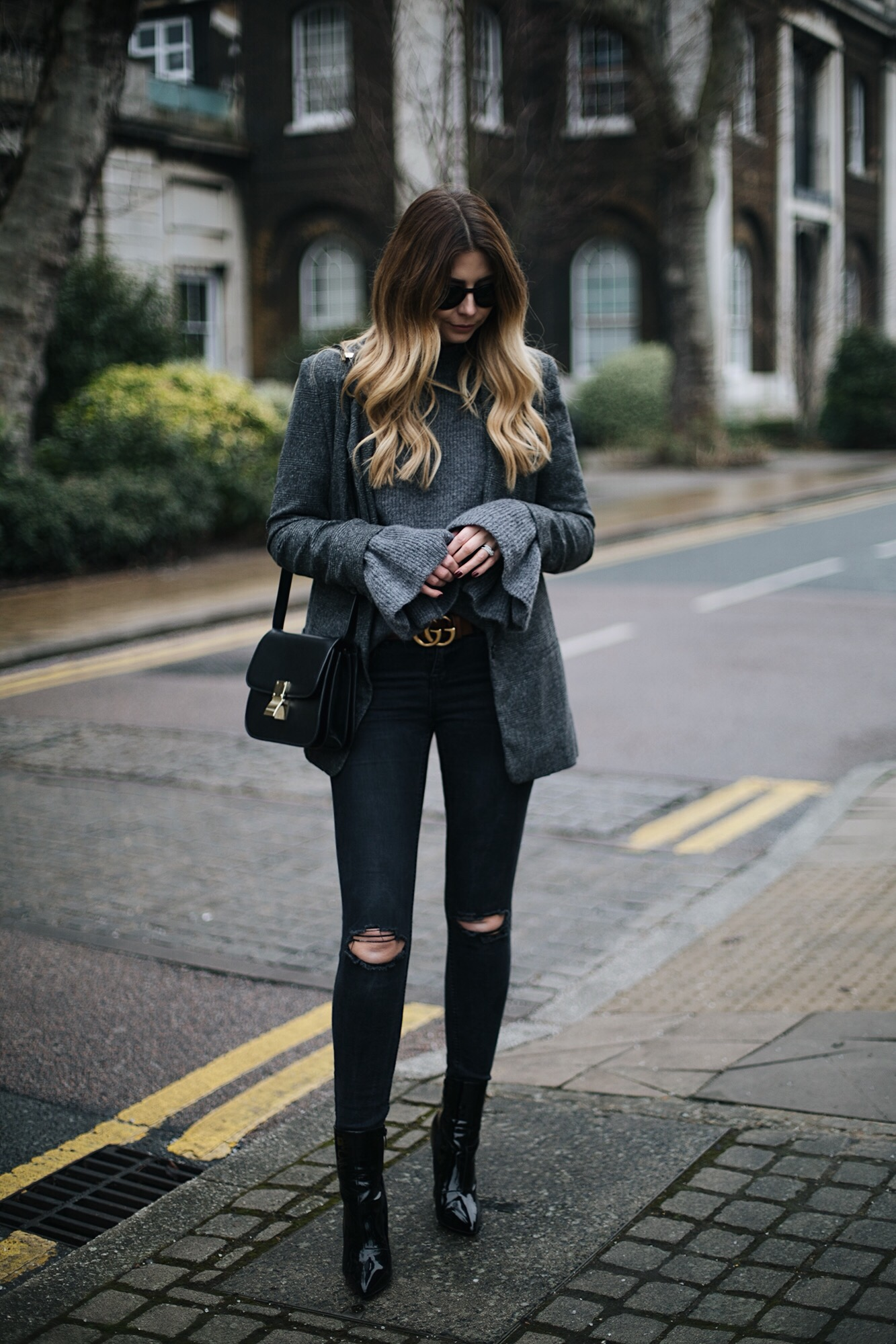 black skinny jeans, patent vinyl ankle boots, grey check blazer, belle sleeve jumper, Celine box bag, Gucci GG marmot belt, winter outfit