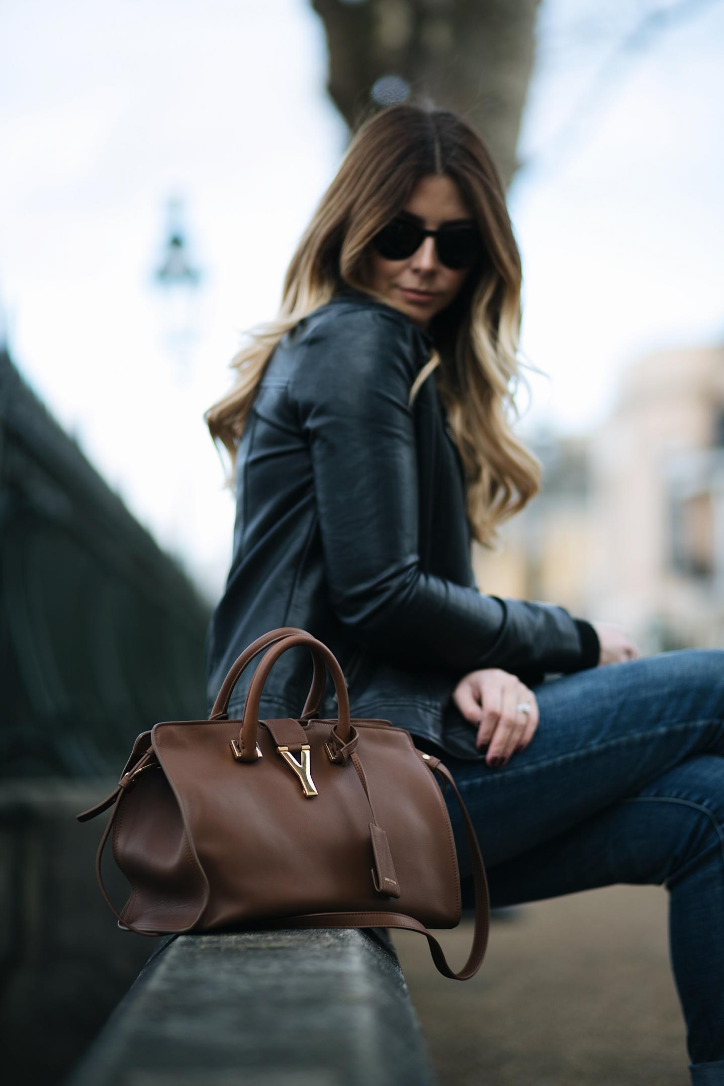 YSL Saint Laurent tan leather chyc cabas
