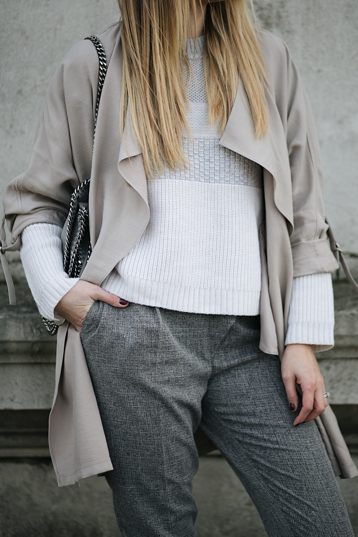 beige waterfall jacket, stripe jumper, grey tailored trousers, winter outfit