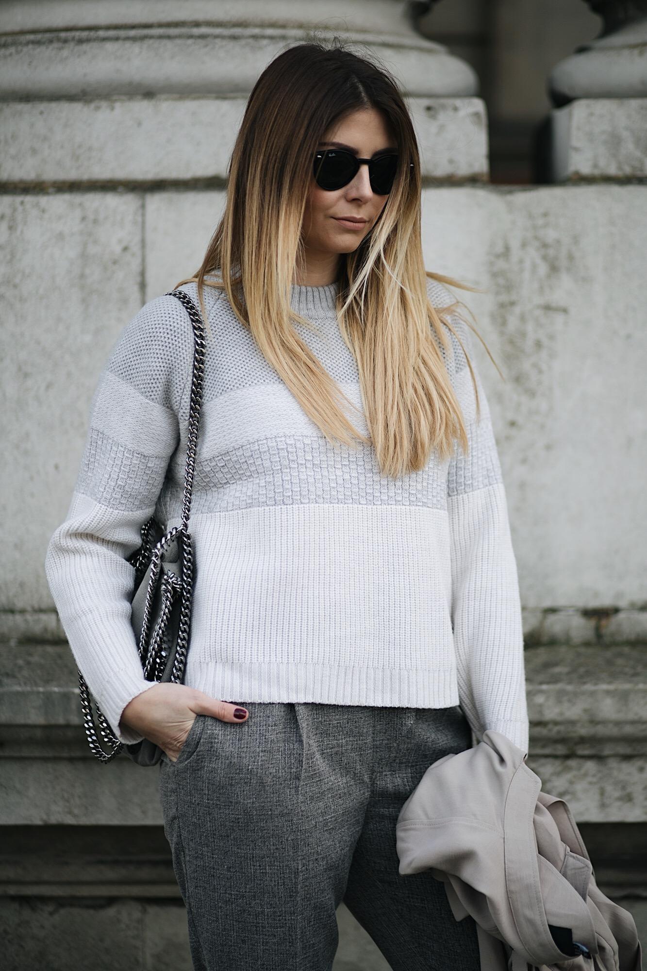 grey white stripe wool jumper, grey stella McCartney Falabella bag, tailored trousers, long blonde hair
