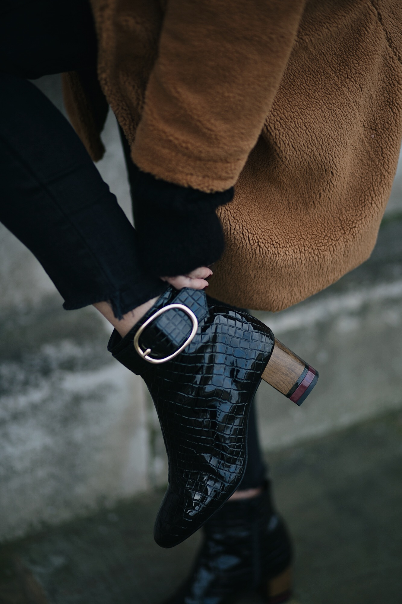 teddy coat, black patent mock croc ankle boots