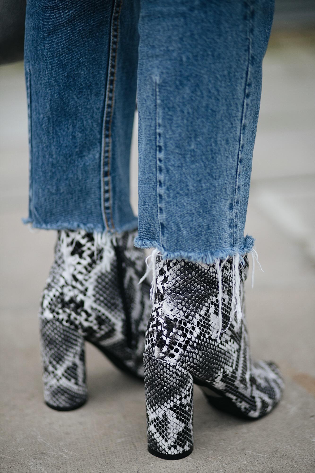 snakeskin boots, raw hem frayed jeans