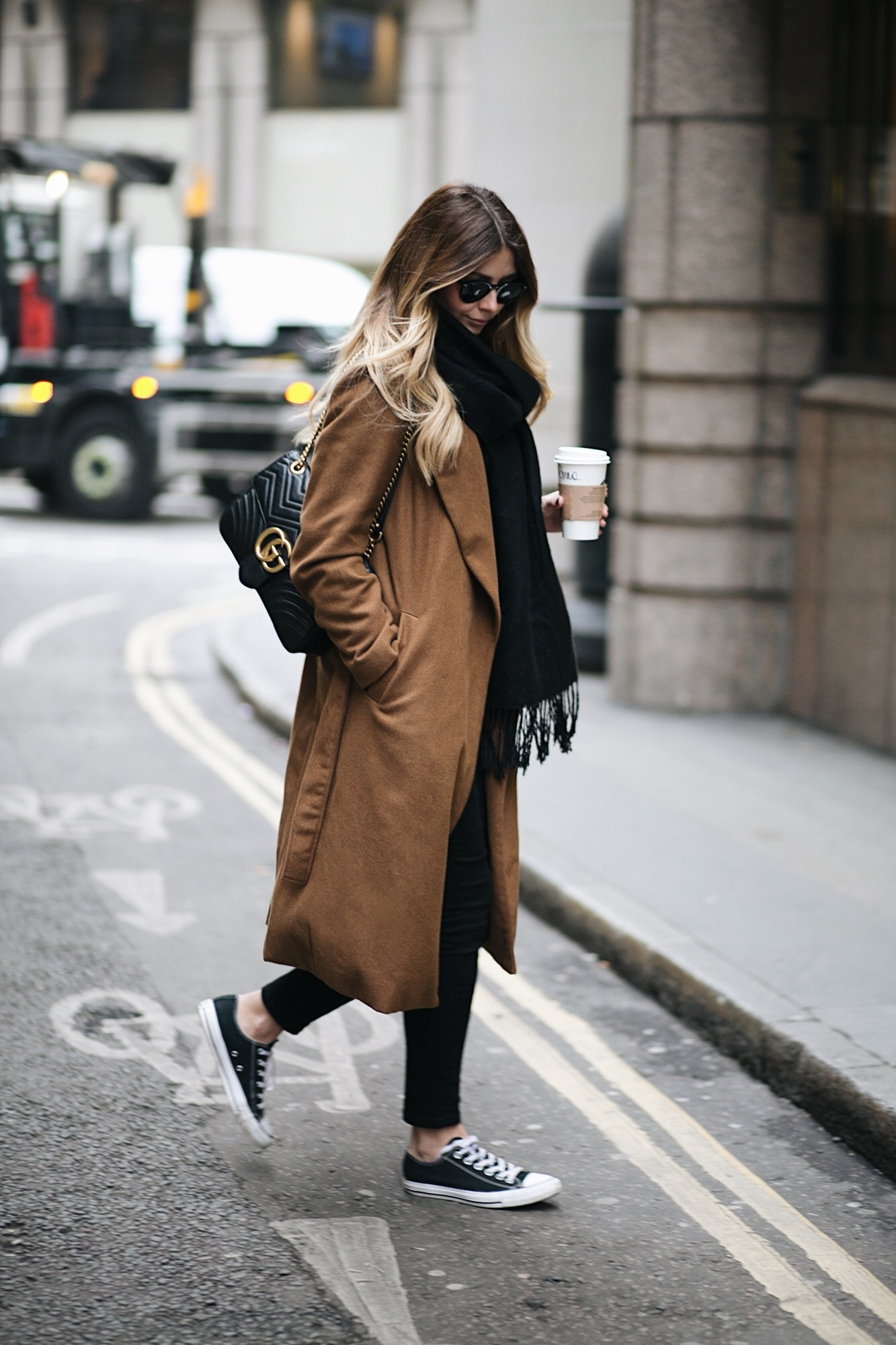 EJ Style Camel Coat, Gucci Marmont bag, Rayban round sunglasses