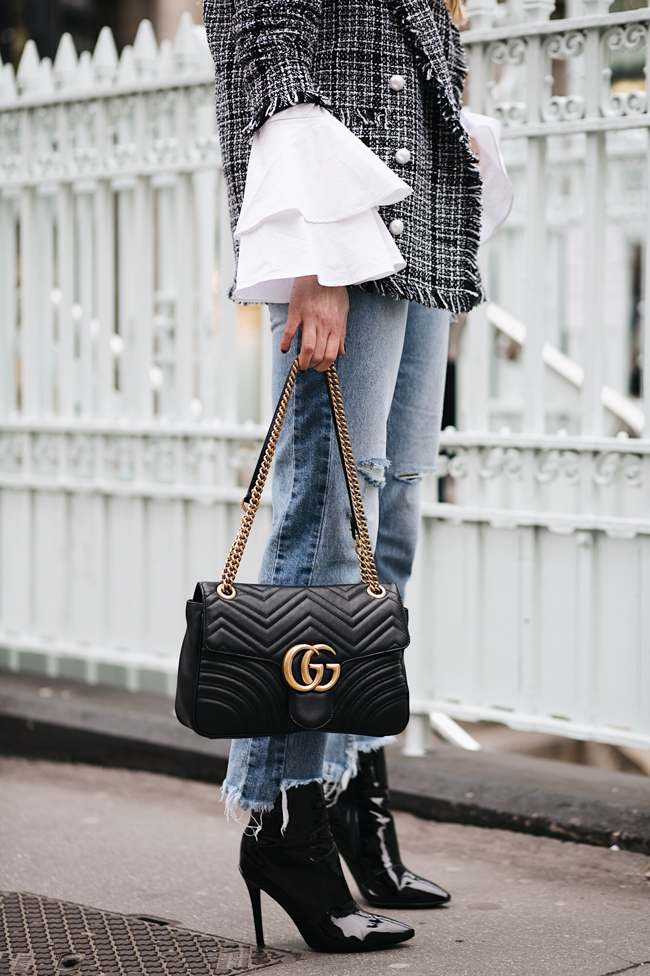 tweed blazer, flare cuff wide sleeve white shirt, raw stepped he jeans, Gucci Marmont bag, black vinyl high shine ankle boots