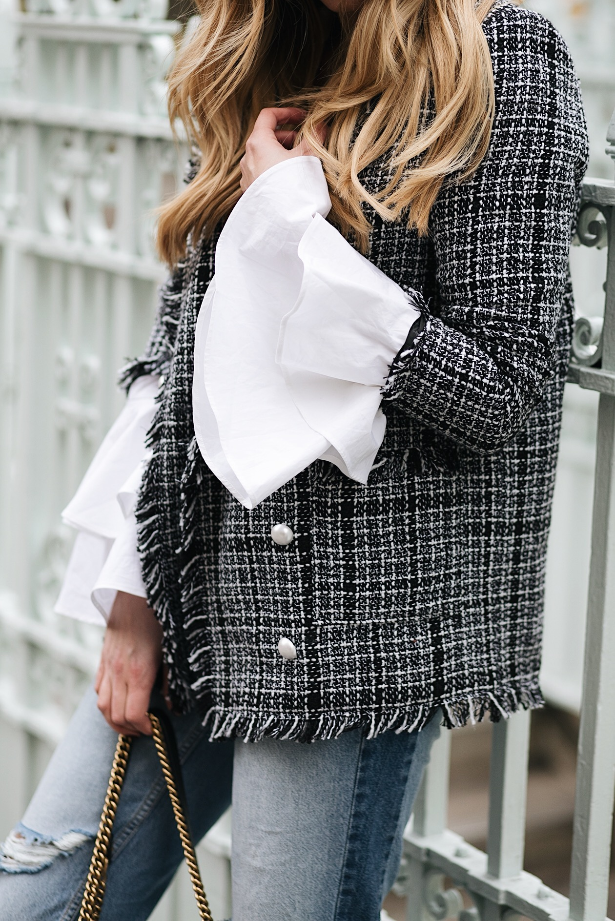 white shirt with flare bell wide cuffs sleeves, chanel style tweed blazer