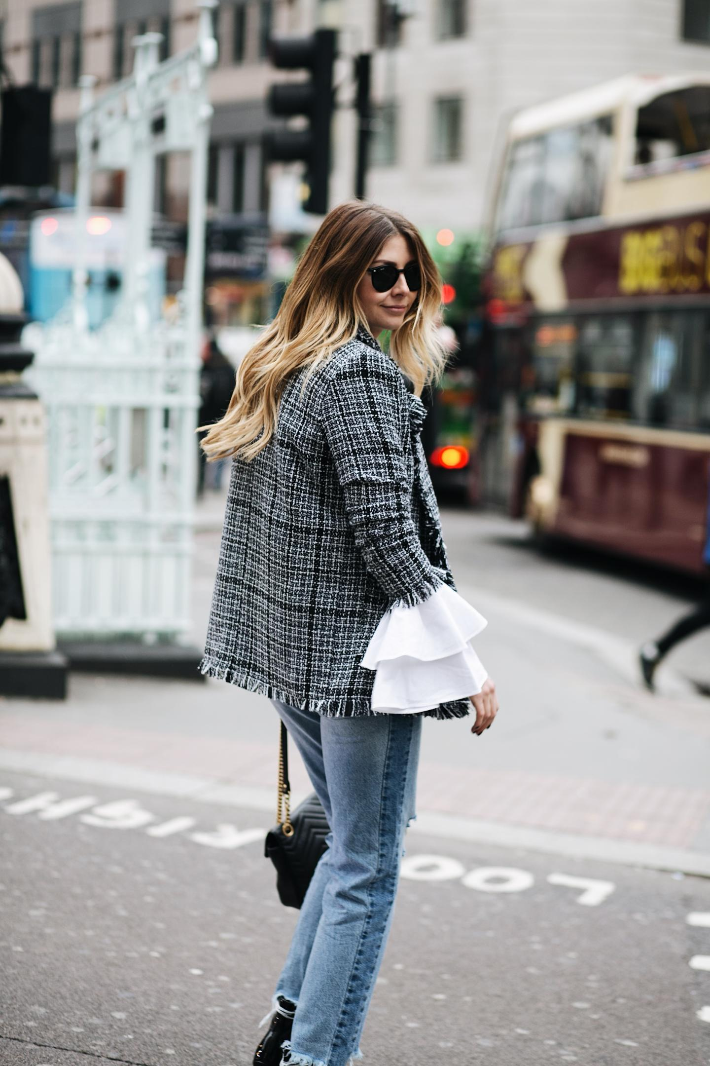 tweed blazer, flare ruffle sleeve white shirt