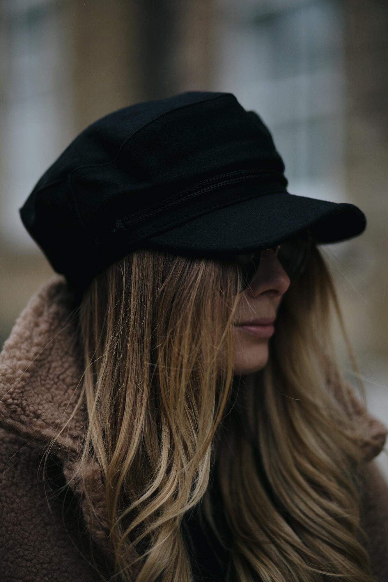 baker boy cap hat, long blonde balayage hair