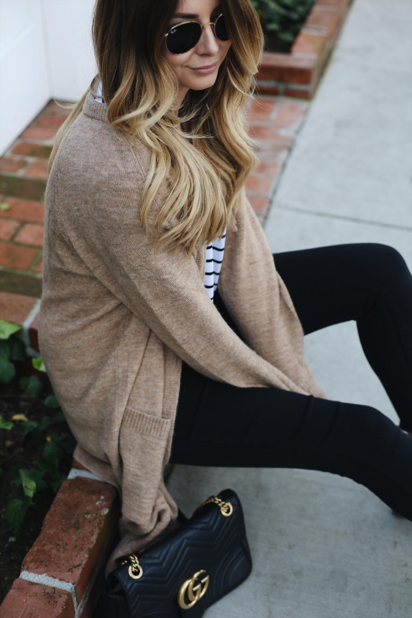 camel cardigan, stripe t-shirt, black skinny jeans, Gucci marmont bag, casual outfit