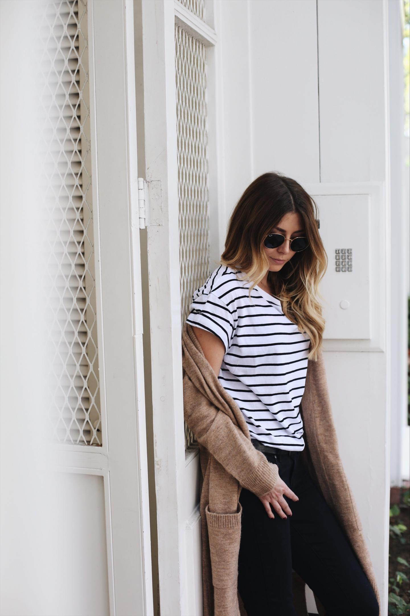 camel cardigan, stripe t-shirt