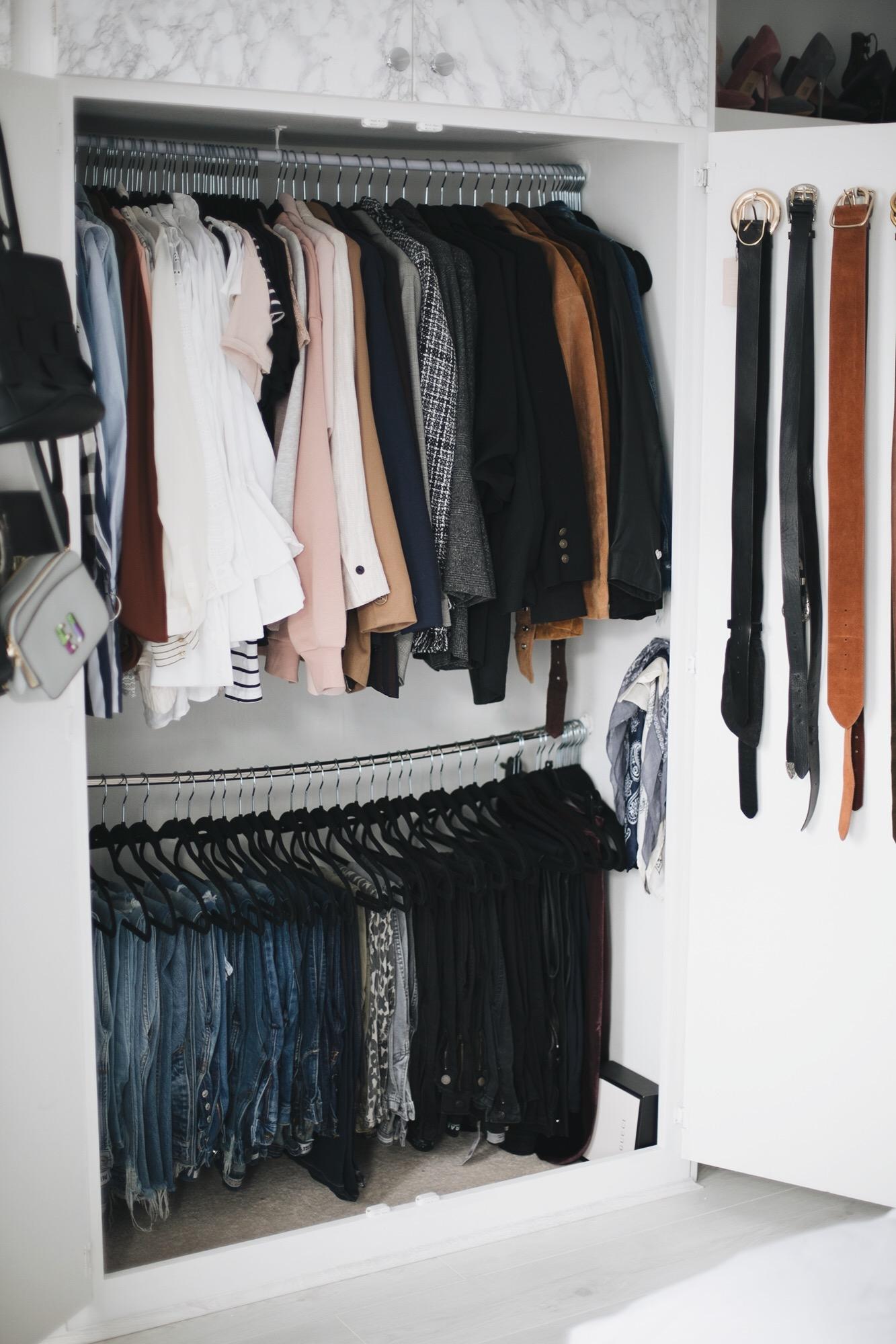 organised closet wardrobe