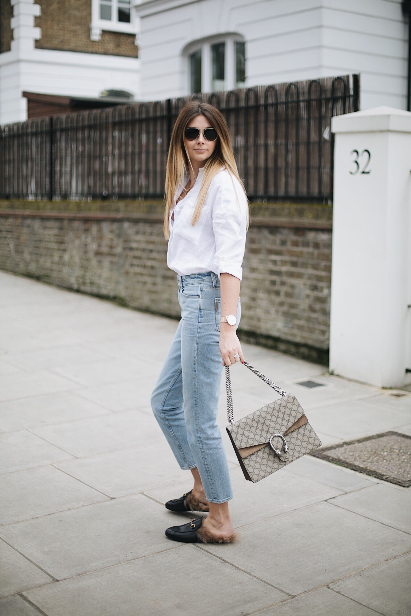 white shirt, light wash mom jeans, Gucci Dioysus bag, Gucci fur Princetown slippers loafers, aviator sunglasses, casual summer outfit